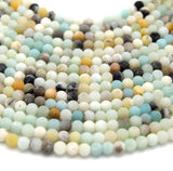 "Matte Round Multicolor Amazonite Beads - 15.5"" Strand - Semi-Precious Gemstone - (4mm 6mm 8mm 10mm 12mm 14mm 16mm Available)"