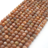 "Natural AAA Peach Sunstone Round/Ball Shaped Beads with 1mm Holes - 15.5"" Strand - (6.5mm 8mm 9mm 10mm 11mm 12mm 13mm Available)"