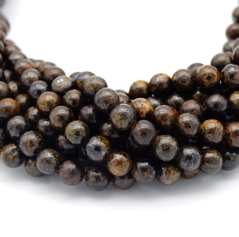 "Smooth Natural Metallic Bronzite Round/Ball Shaped Beads - Sold by 15"" Strands - Quality Gemstone - (4mm 6mm 8mm 10mm)"