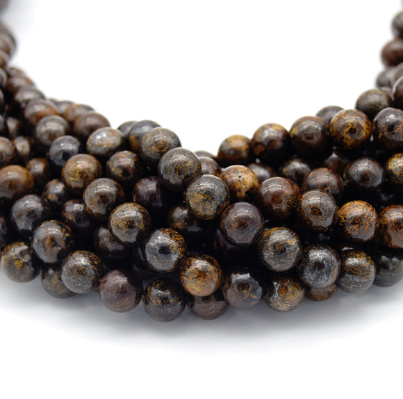Smooth Natural Metallic Bronzite Round/Ball Shaped Beads - Sold by 15