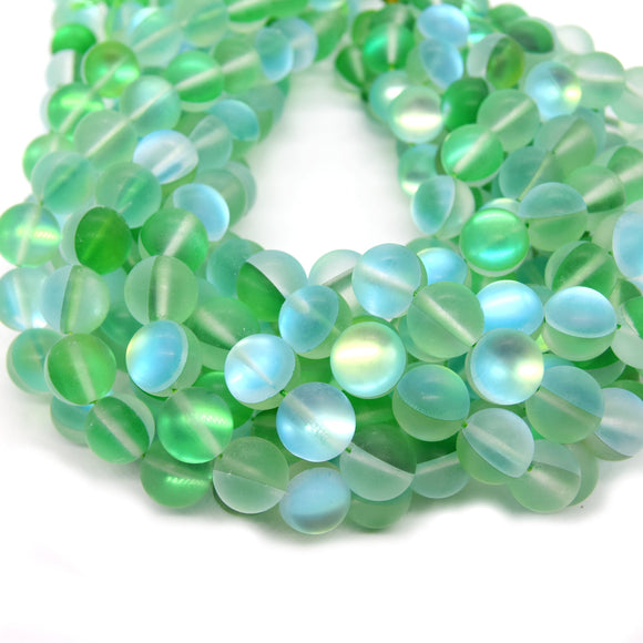 Synthetic Moonstone Beads | Mystic Aura Quartz Beads | Green Matte Holographic Glass Beads - 6mm 8mm 10mm 12mm Available