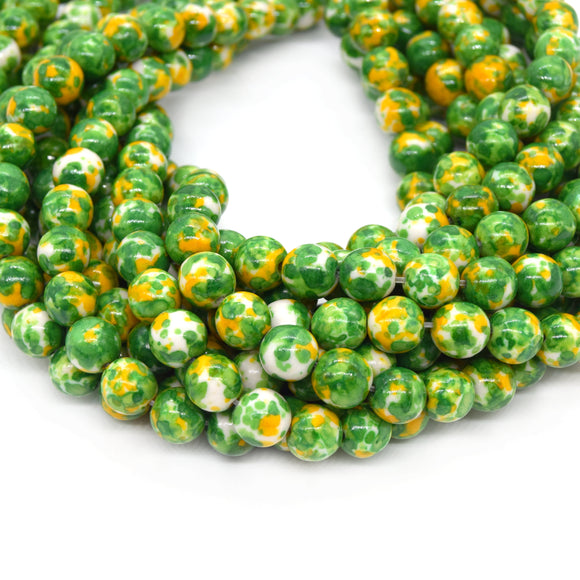 Dyed Mottled Jade Beads | Dyed Green Yellow and White Round Gemstone Beads - 8mm 10mm 12mm Available