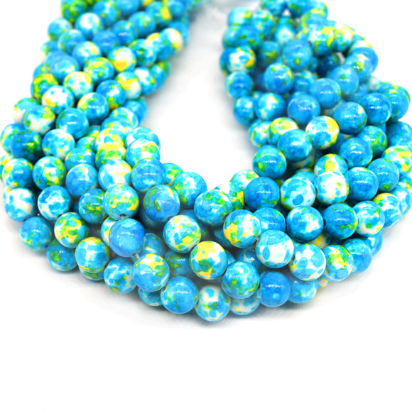Dyed Mottled Jade Beads | Dyed Blue Yellow and White Round Gemstone Beads - 8mm 10mm 12mm Available