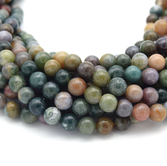 Indian Agate Beads | Natural Smooth Round Gemstone Beads - 2mm 4mm 6mm 8mm 10mm 12mm Available
