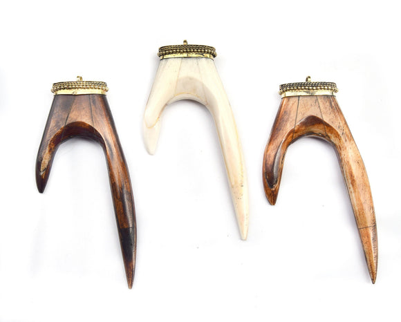 Bone Pendant | Antler Tusk Shaped Natural Ox Bone Pendant with Dotted Gold Cap - 3 Colors available