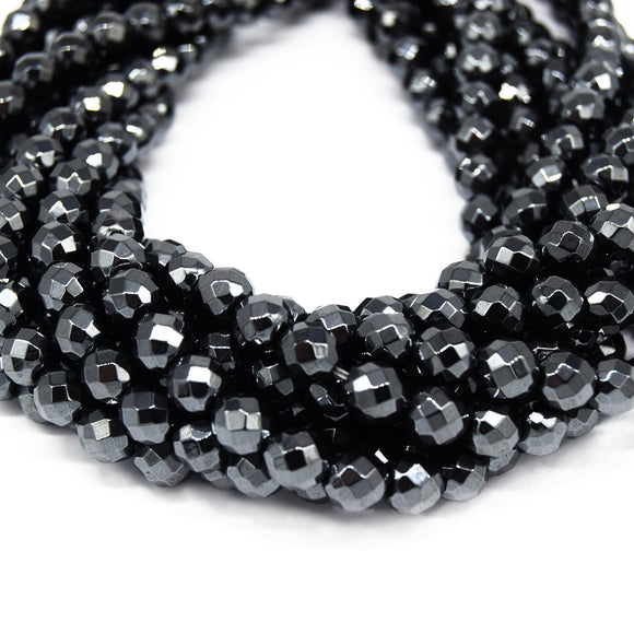 Hematite Beads |   Faceted Round Natural Gemstone Beads - 3mm 4mm 6mm 8mm 10mm Available