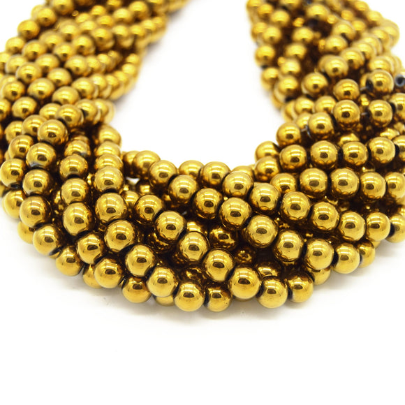 Hematite Beads |  Metallic Gold Round Natural Gemstone Beads - 4mm 6mm 8mm 10mm Available