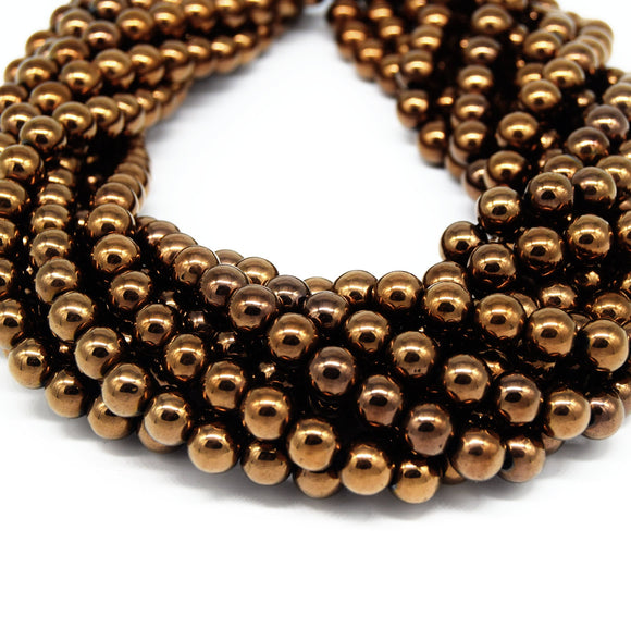 Hematite Beads |  Metallic Bronze Round Natural Gemstone Beads - 4mm 6mm 8mm 10mm Available