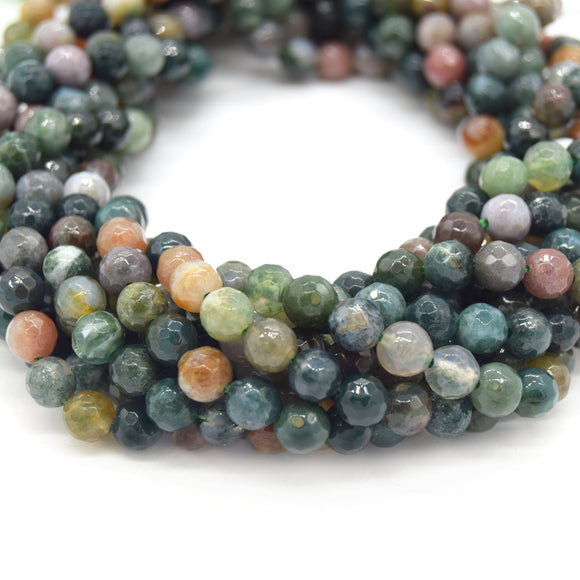Indian Agate Beads | Natural Faceted Round Gemstone Beads - 4mm 6mm 8mm 10mm 12mm Available
