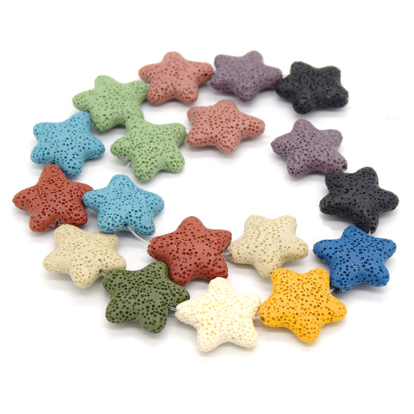 Star Lava Beads | Natural Multi-Color Lava Rock Beads - 22mm 27mm 42mm Available