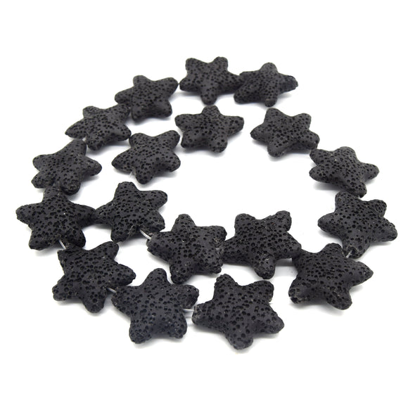 Star Lava Beads | Natural Black Lava Rock Beads - 22mm 27mm 42mm Available