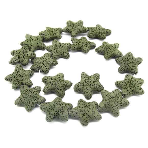 Star Lava Beads | Natural Olive Green Lava Rock Beads - 22mm 27mm 42mm Available