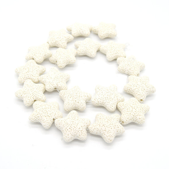 Star Lava Beads | Natural White Lava Rock Beads - 22mm 27mm 42mm Available