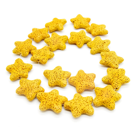 Star Lava Beads | Natural Yellow Lava Rock Beads - 22mm 27mm 42mm Available