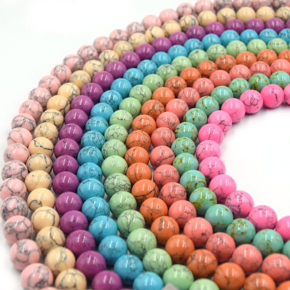 Reconstituted Howlite Beads | Polished Turquoise Round Shaped Beads - Available in 6mm 8mm 10mm 12mm