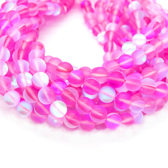 Synthetic Moonstone Beads | Mystic Aura Quartz Beads | Pink Matte Holographic Glass Beads - 6mm 8mm 10mm 12mm Available