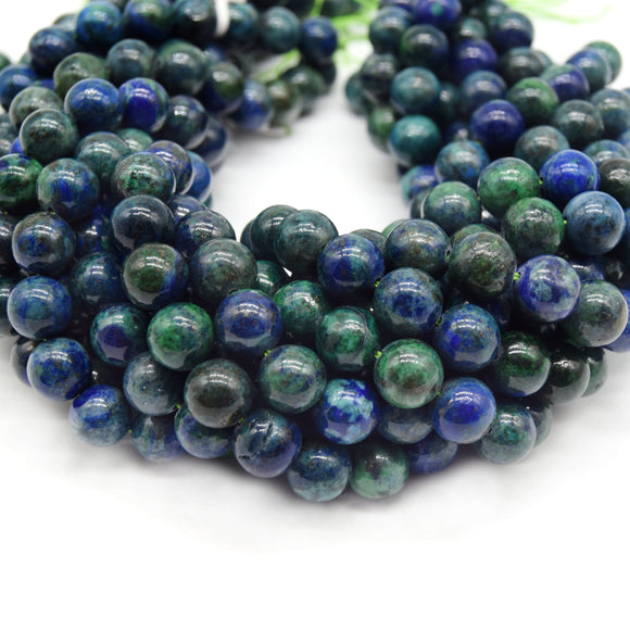 Azurite-Malachite Chrysocolla Beads | Smooth Round Gemstone Beads - 4mm 6mm 8mm 10mm Available