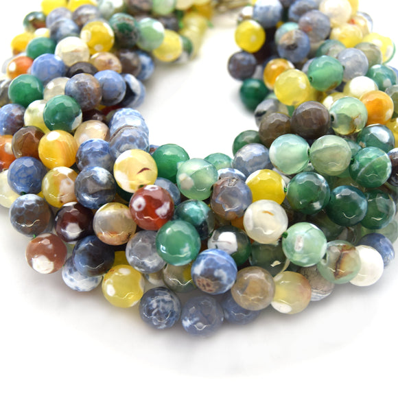 Dyed Agate Beads | 10mm Faceted Smooth Yellow/Green/Gray Spotted Round Gemstone Beads