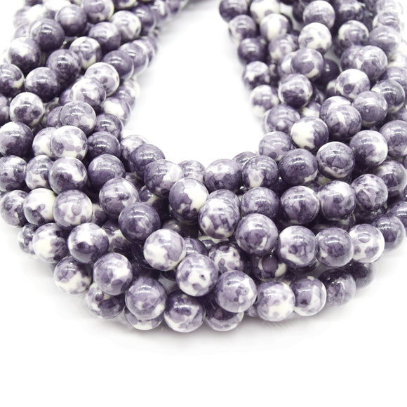 Dyed Mottled Jade Beads | Dyed Charcoal Gray and White Round Gemstone Beads - 8mm 10mm 12mm Available