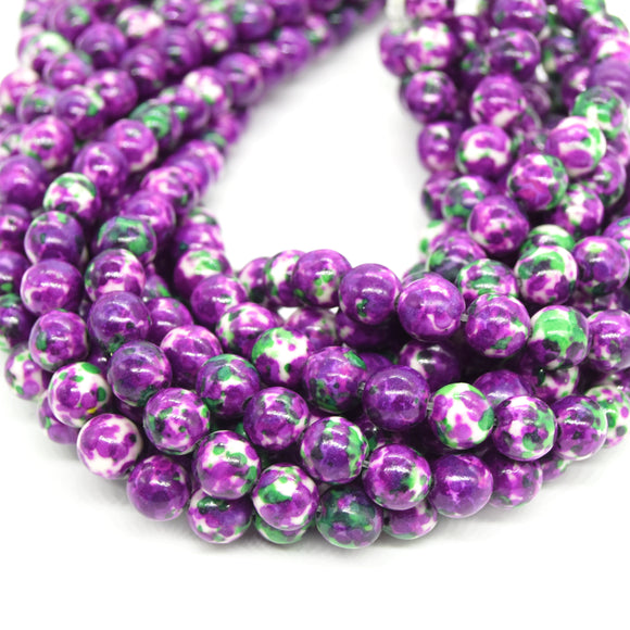 Dyed Mottled Jade Beads | Dyed Deep Purple Green and White Round Gemstone Beads - 8mm 10mm 12mm Available