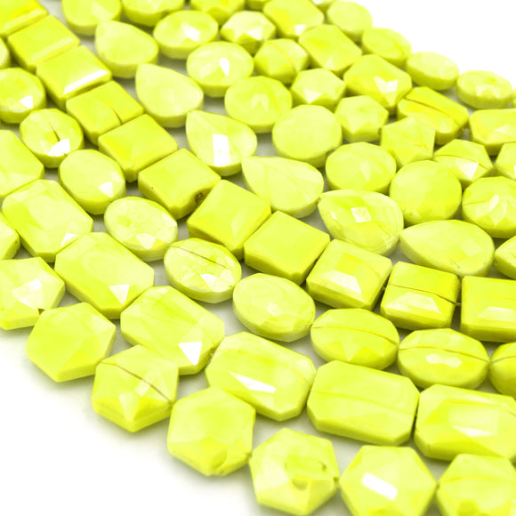 Fluorescent Yellow Chinese Crystal Beads | Hexagon, Rectangle, Oval, Square, Coin, Teardrop, Shaped Glass Beads