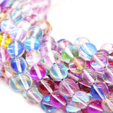 Synthetic Moonstone Beads | Mystic Aura Quartz Beads | Rainbow Holographic Glass Beads - 6mm 8mm 10mm 12mm Available
