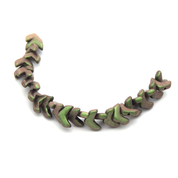 Chevron Duo Beads | 10mm x 4mm Polychrome Sage/Citrus - 2 hole Czech Glass | 30 Beads per strand