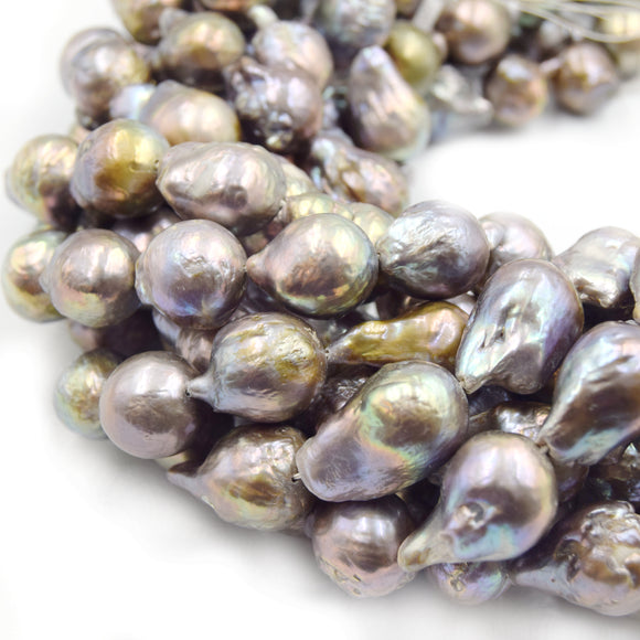 Natural Light Rainbow/Peacock Freshwater Pearl Baroque Shaped Beads - Sold by 15