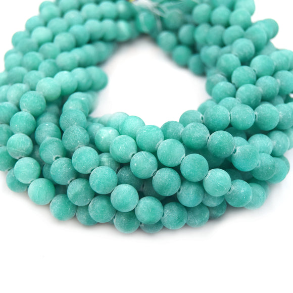 Dyed Matte Jade Beads | Dyed Teal Green Round Gemstone Beads - 8mm 10mm 12mm Available