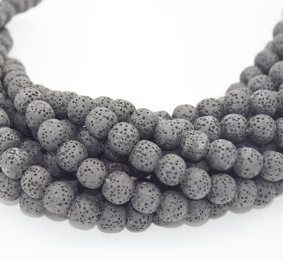 Lava Beads | Gray Round Diffuser Beads - 6mm 8mm 10mm 12mm 14mm 16mm Available