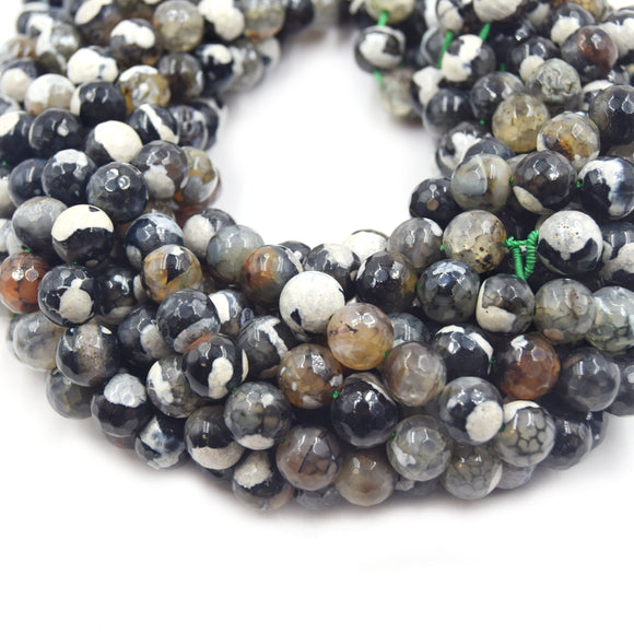 Fire Agate Beads | Dyed Black Brown White Mix Faceted Round Gemstone Beads - 8mm 10mm Available