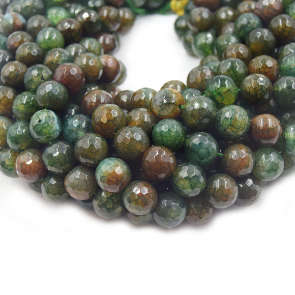 Fire Agate Beads | Dyed Green Brown Mix Faceted Round Gemstone Beads - 12mm 14mm Available