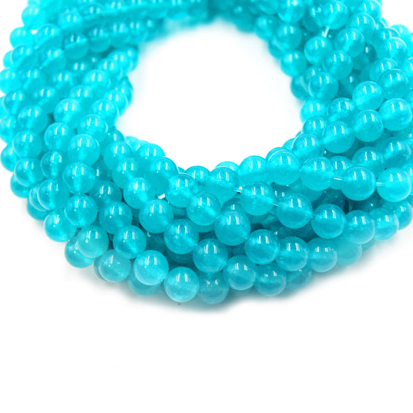 Teal Chalcedony Beads |  Natural Smooth Round Gemstone Beads - 6mm 8mm 10mm Available