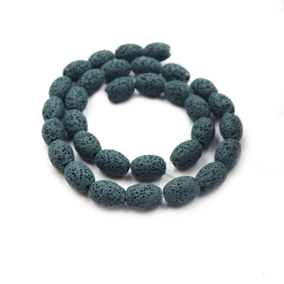 Lava Beads | 12mm Dark Teal Rice Diffuser Bead - Approx 32 beads per strand (8mm thick)