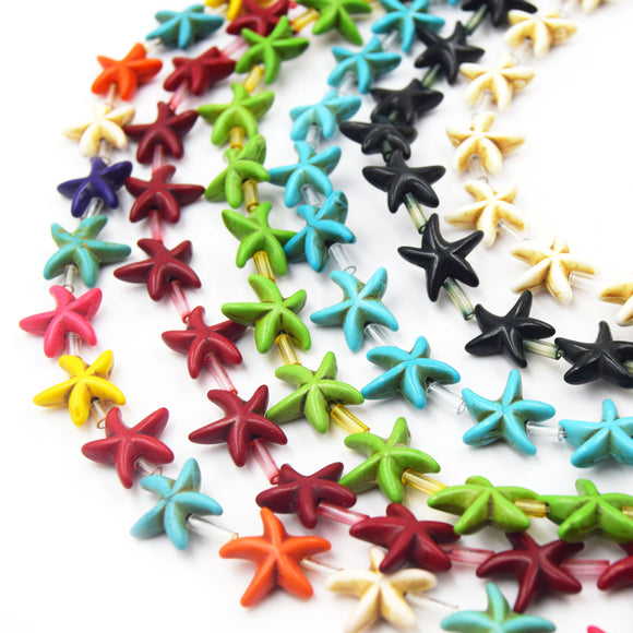 Howlite Starfish Beads | Dyed Starfish Shaped Beads - Available in Red White Black Turquoise Green Rainbow