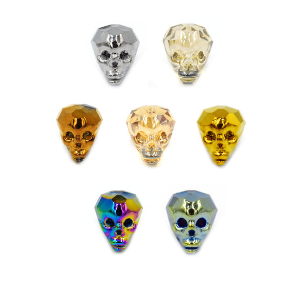 Chinese Crystal Beads | 18mm x 20mm Glossy Finish Chinese Crystal Carved 3D Skull Glass Beads  Seven Colors Available!