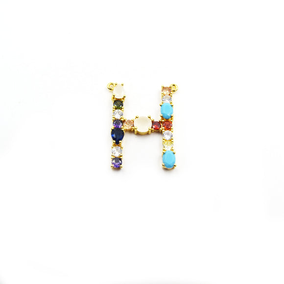 Gold Alphabet Rhinestone Pendant | Letter H Multi-color Rhinestone Pendant with Two Loops - 25mm x 35mm