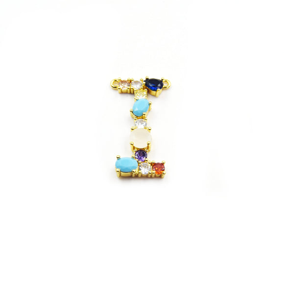 Gold Alphabet Rhinestone Pendant | Letter I Multi-color Rhinestone Pendant with Two Loops - 20mm x 35mm