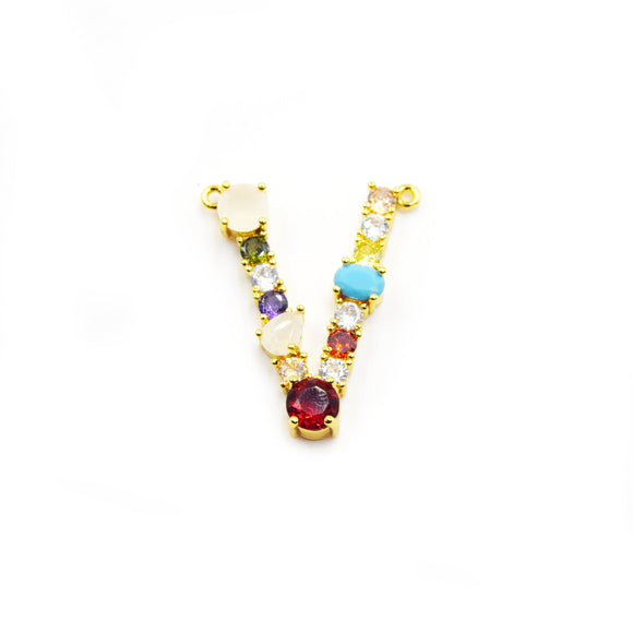 Gold Alphabet Rhinestone Pendant | Letter V Multi-color Rhinestone Pendant with Two Loops - 25mm x 35mm