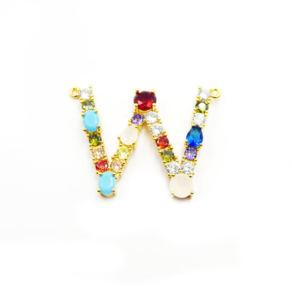 Gold Alphabet Rhinestone Pendant | Letter W Multi-color Rhinestone Pendant with Two Loops - 40mm x 35mm