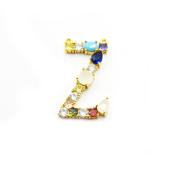 Gold Alphabet Rhinestone Pendant | Letter Z Multi-color Rhinestone Pendant with Two Loops - 25mm x 35mm