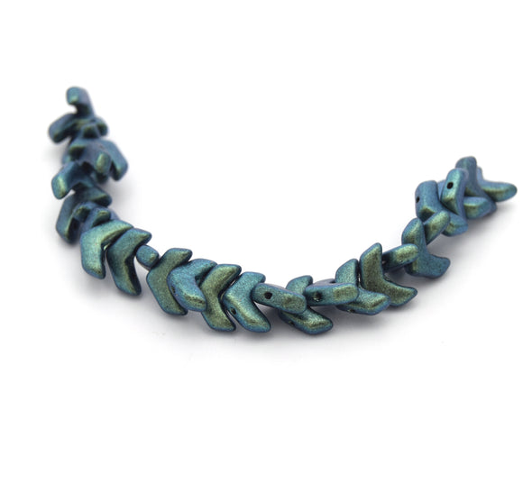 Chevron Duo Beads | 10mm x 4mm Polychrome Mint Chocolate (Green) - 2 hole Czech Glass | 30 Beads per strand