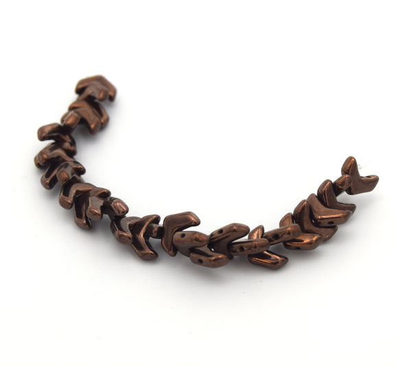 Chevron Duo Beads | 10mm x 4mm Jet Bronze - 2 hole Czech Glass | 30 Beads per strand