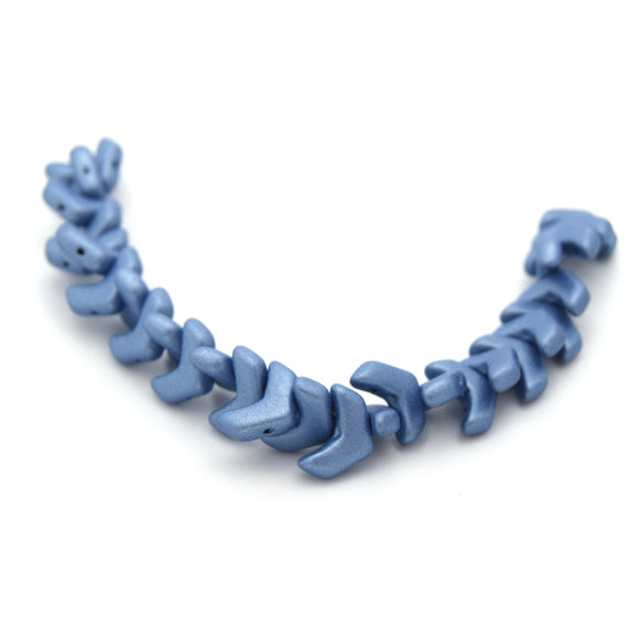 Chevron Duo Beads | 10mm x 4mm Jet Suede Blue - 2 hole Czech Glass | 30 Beads per strand