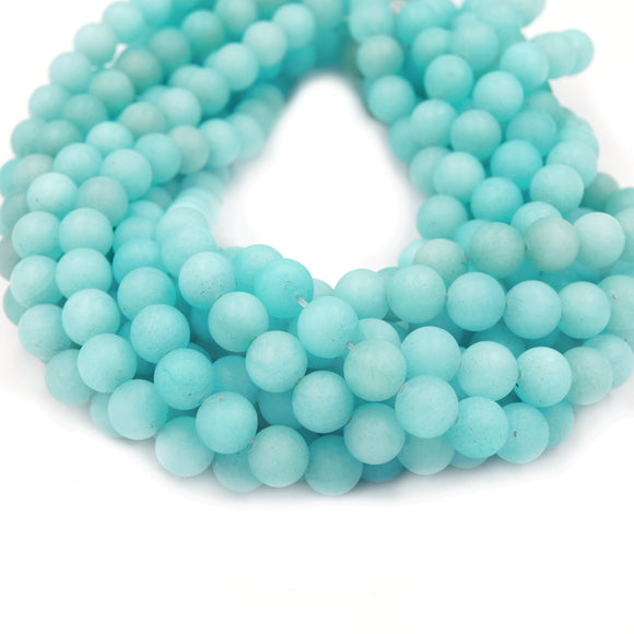 Dyed Matte Jade Beads | Dyed Caribbean Blue Round Gemstone Beads - 6mm 8mm 10mm Available