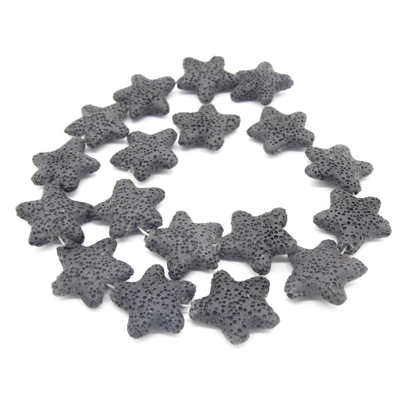 Star Lava Beads | Natural Gray Lava Rock Beads - 22mm 27mm 42mm Available