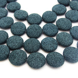 "27mm Circle/Coin Dark Teal Lava Rock Beads - 15.5"" Strand (Approx. 14 Beads) - Volcanic Stone - 10+ Colors Available, See Related Item Links"