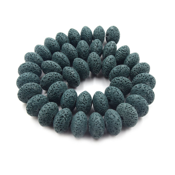 Lava Beads | 16mm Dark Teal Saucer Diffuser Bead - Approx 43 beads per strand (10mm thick)