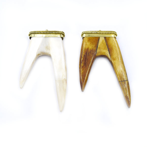 Bone Pendant | Flat Antler Tusk Shaped Natural Ox Bone Pendant with Dotted Gold Cap - 2 Colors available