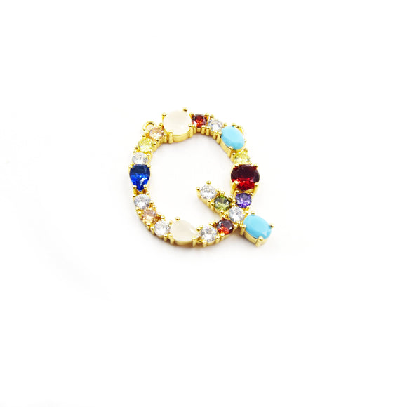 Gold Alphabet Rhinestone Pendant | Letter Q Multi-color Rhinestone Pendant with Two Loops - 35mm x 35mm
